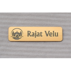 bamboo name tag with metallic paint fill