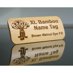 large bamboo name tag with walnut dye fill