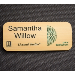 big bamboo wooden name tag with 2 colors