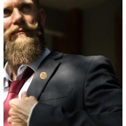 Best man lapel pin on male