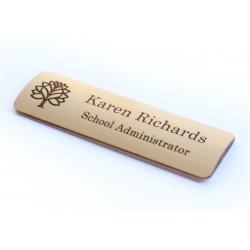 Bamboo badge with walnut dye