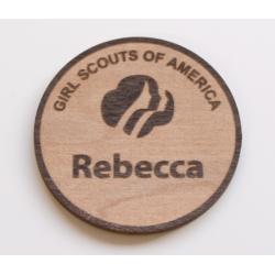 Round maple name badge