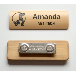 Bamboo name tag with black paint fill