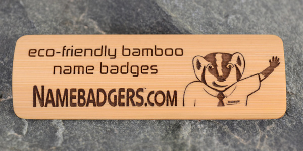 3x1 Bamboo Name Tag, Brown Paint Fill