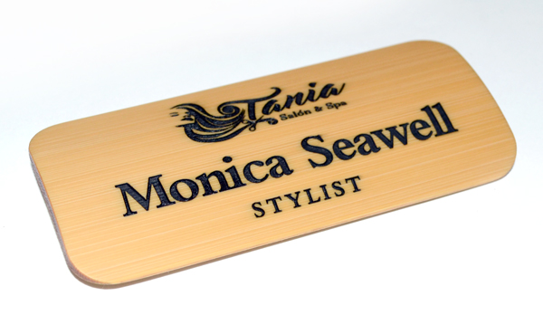 large bamboo name tag with black paint fill