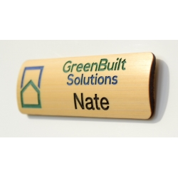 curved face custom multi-color bamboo name badge