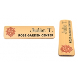 red and black bamboo name tag