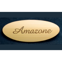 Oval bamboo name tag