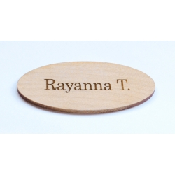 Oval wood name tag