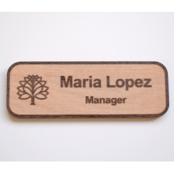 Reverse engraved maple name tag