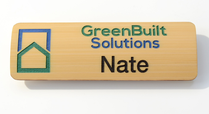 3x1 bamboo name tag with multi-color paint fill