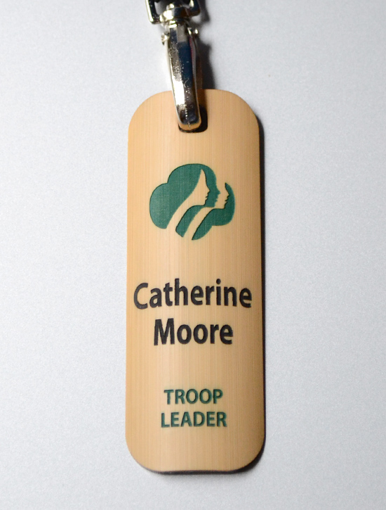 2-color fill engraved conference badge and lanyard
