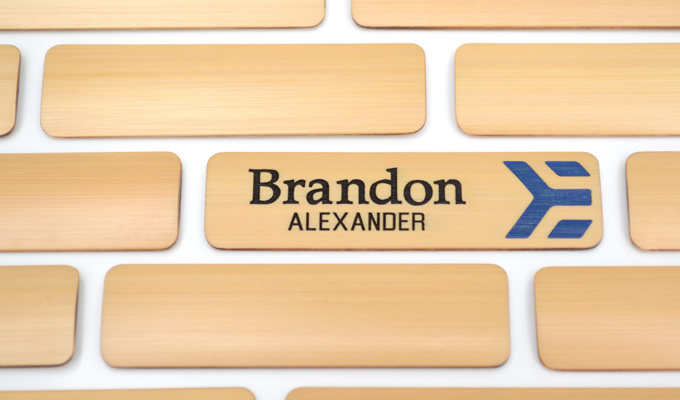 2 color fill bamboo name badge