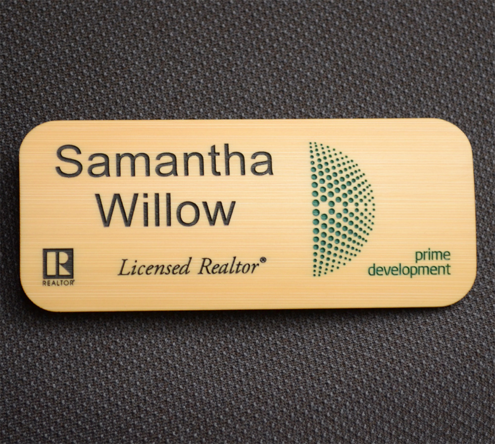 Very 3.5x1.5 Engraved Bamboo Name Badge with 2 Color Paint Fill TY29