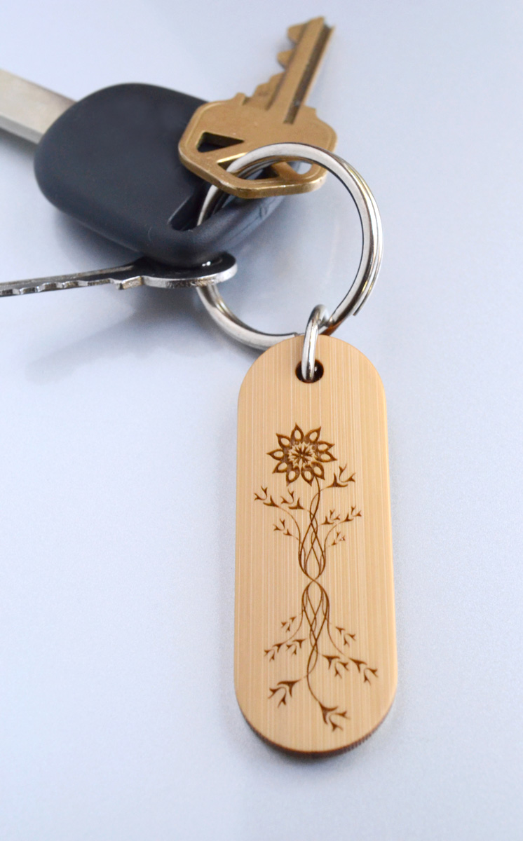 engraved bamboo keychain