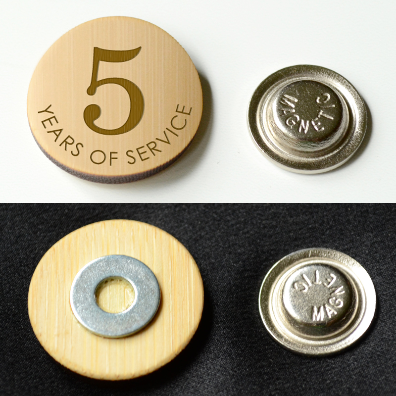 Round bamboo lapel pin with magnet