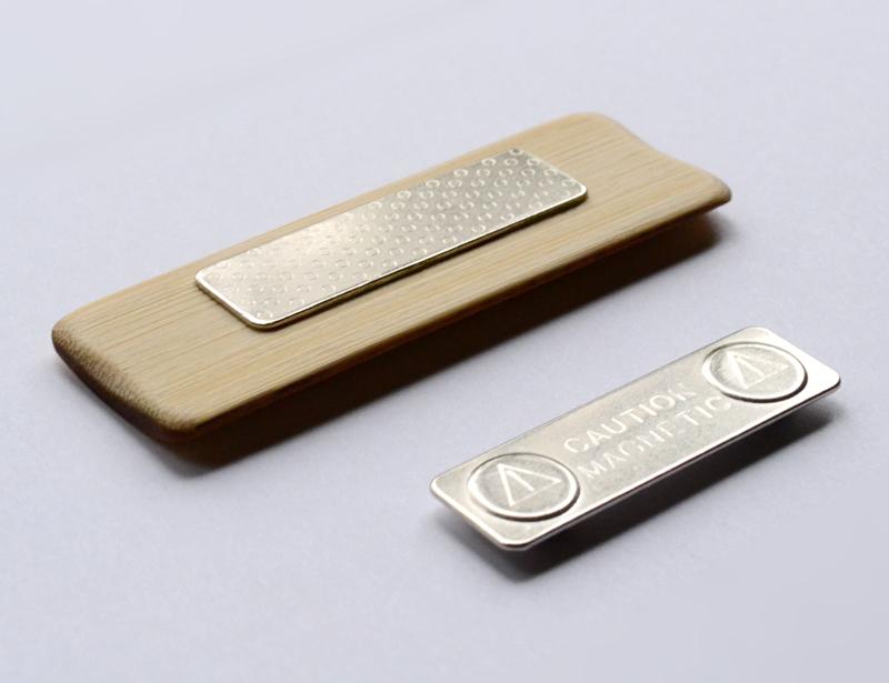 Magnetic bamboo name badge