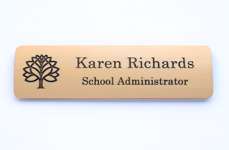 Engraved bamboo name badge with natural dye fill