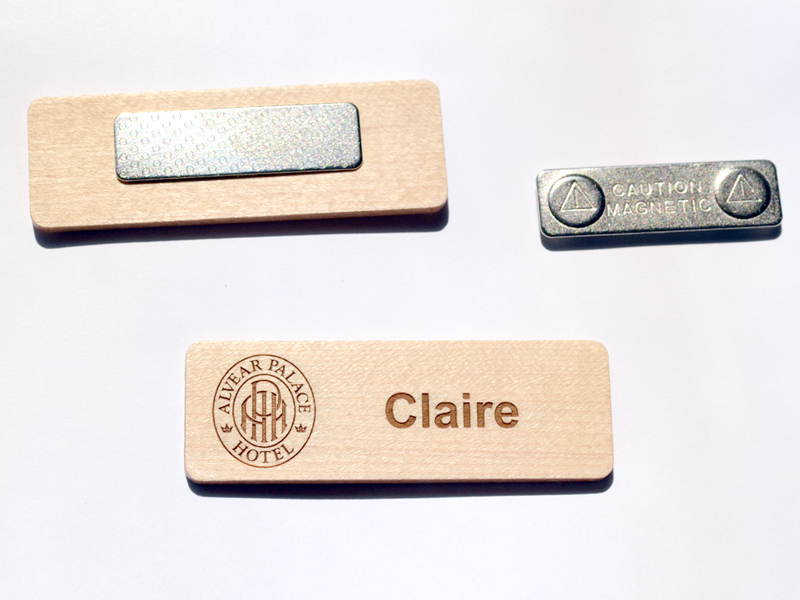 Wood name tag with magnetic back