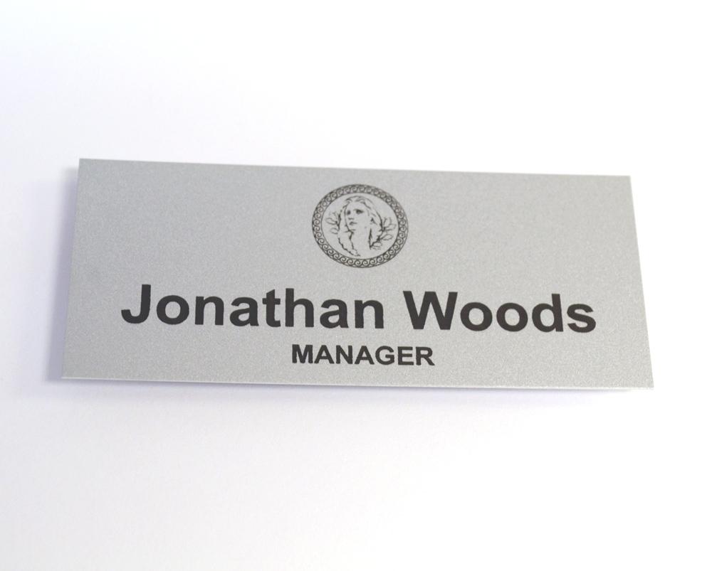 Large aluminum name tag
