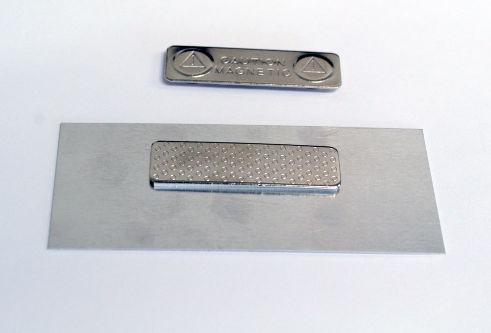 Aluminum name tag with magnetic back