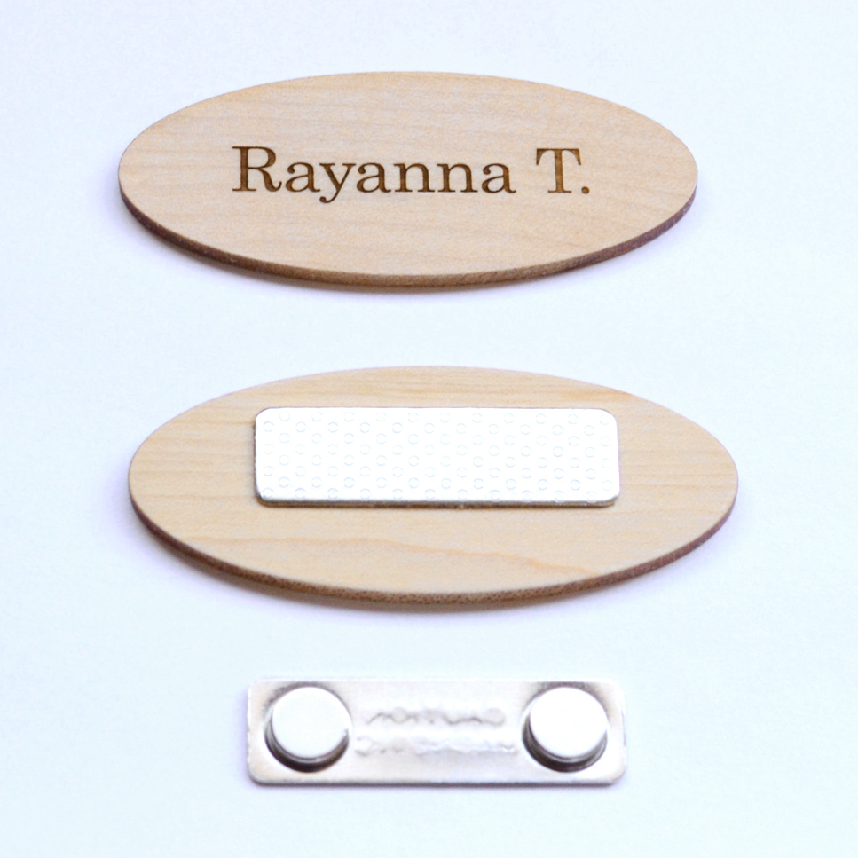 Oval name tag with magnetic back