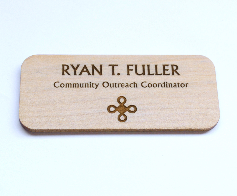 Large maple name tags