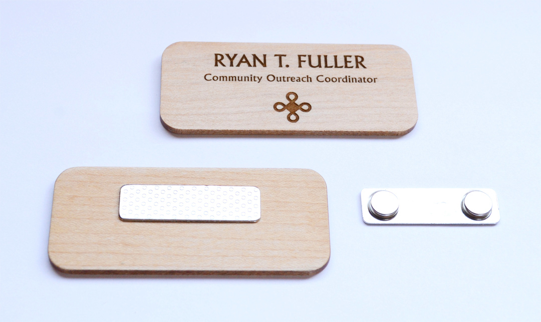 Large maple name badge with magnet