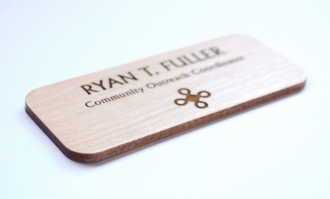 Engraved maple name tag