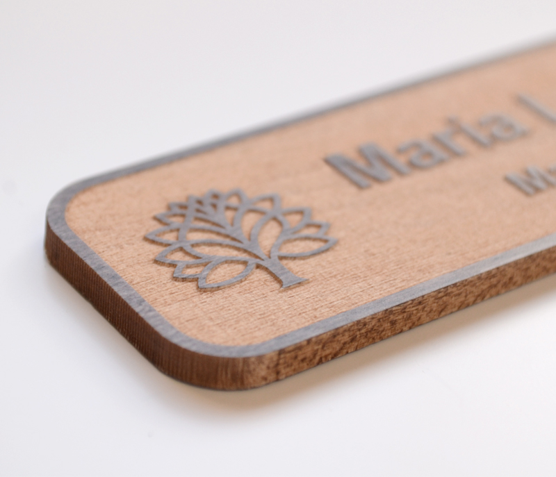 Close-up of engraved maple