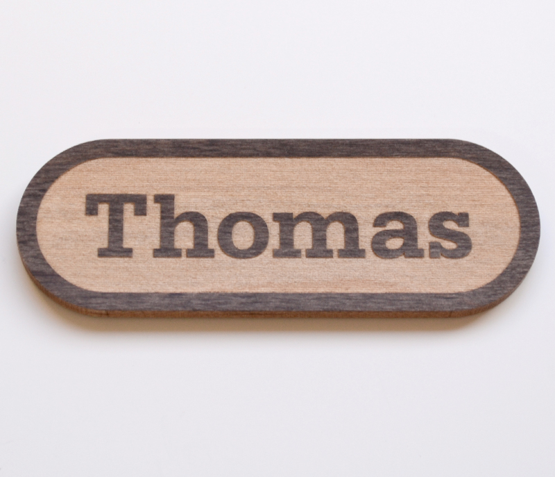 Reverse engraved full rounded end name tag